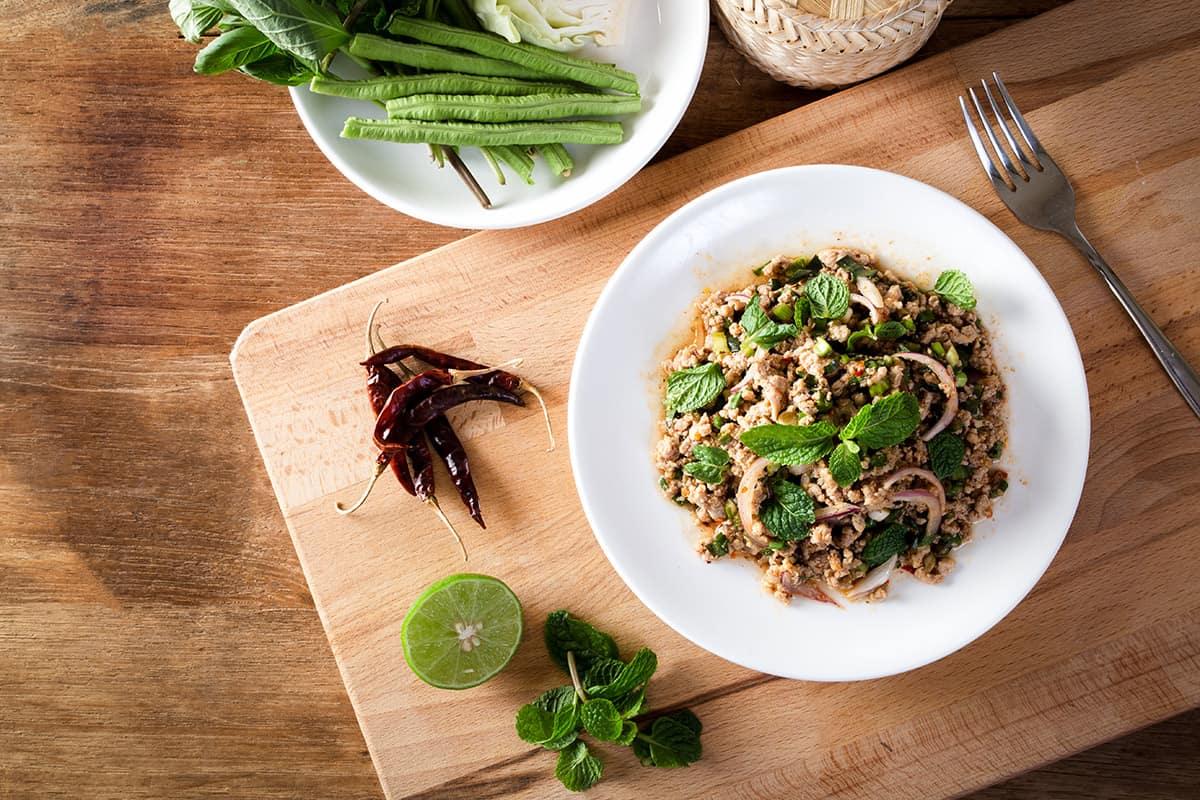 thai cuisine vs lao cuisine - minced salad larb