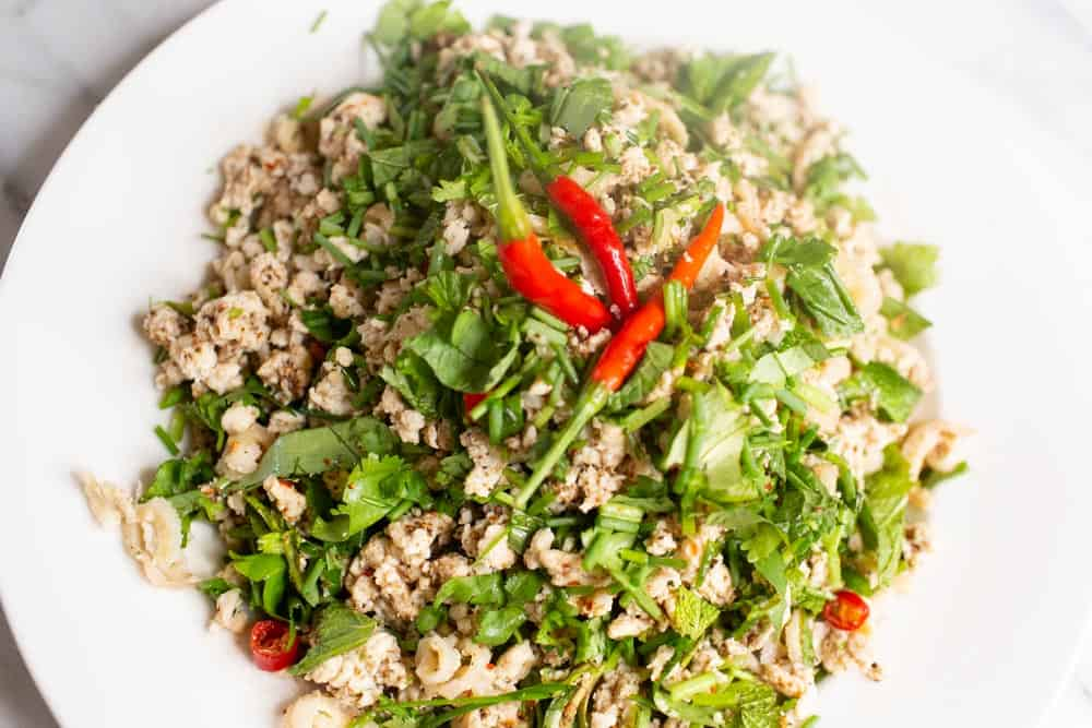 authentic larb gai recipe with serrano peppers