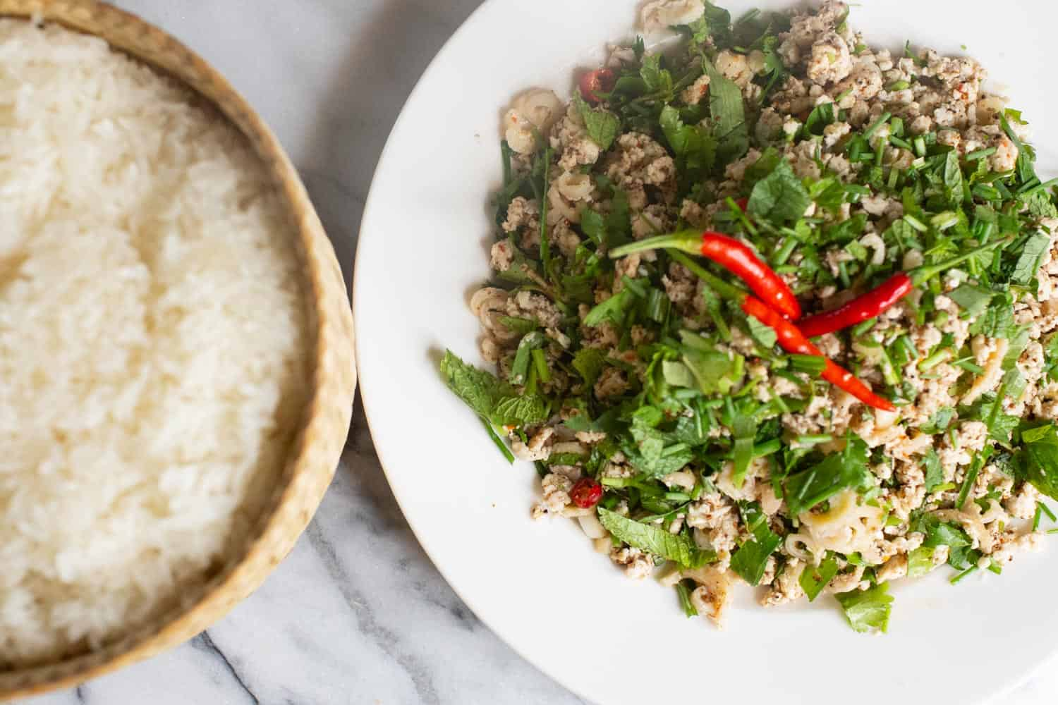 laos larb with sticky rice
