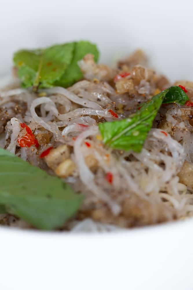 vietnamese bun bi recipe with sweet fish sauce and vermicelli noodles