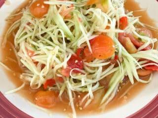 lao style spicy green papaya salad