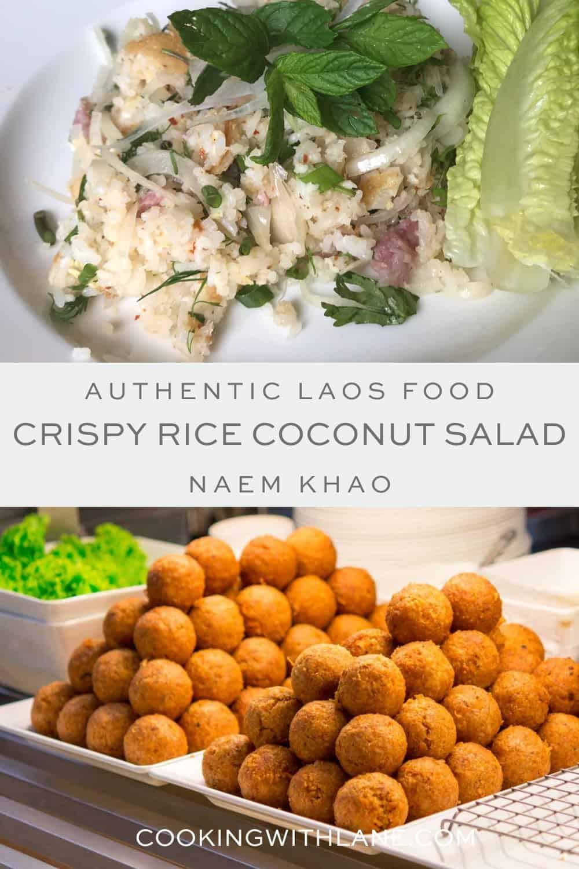 naem khao recipe crispy rice coconut salad