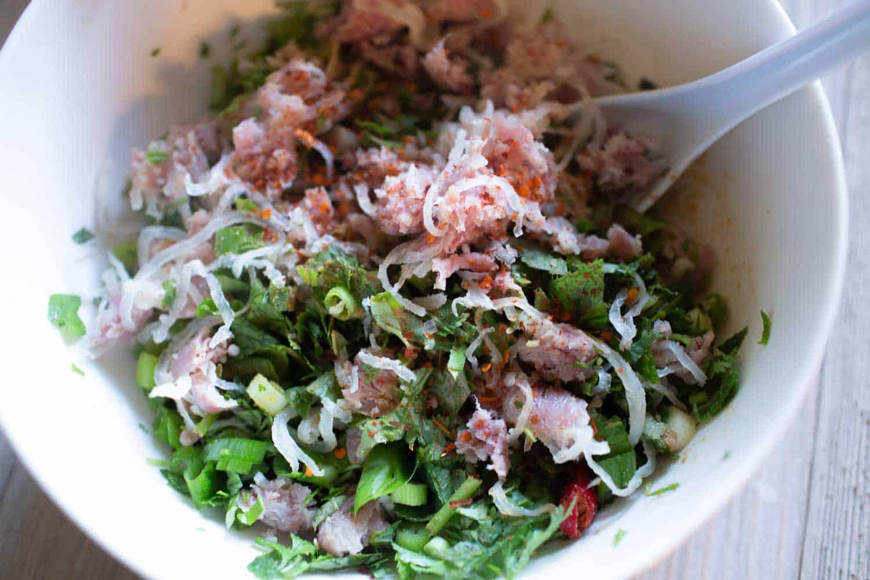 som moo larb sour pork salad