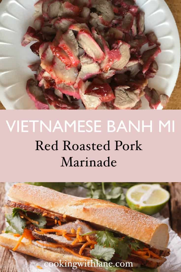 Red pink roasted red pork for banh mi sandwich