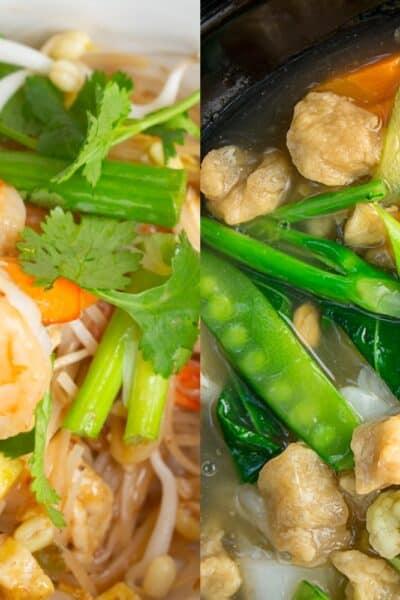 Pad thai versus lad na comparison ingredients