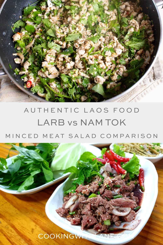 Nam tok vs laab minced meat salad