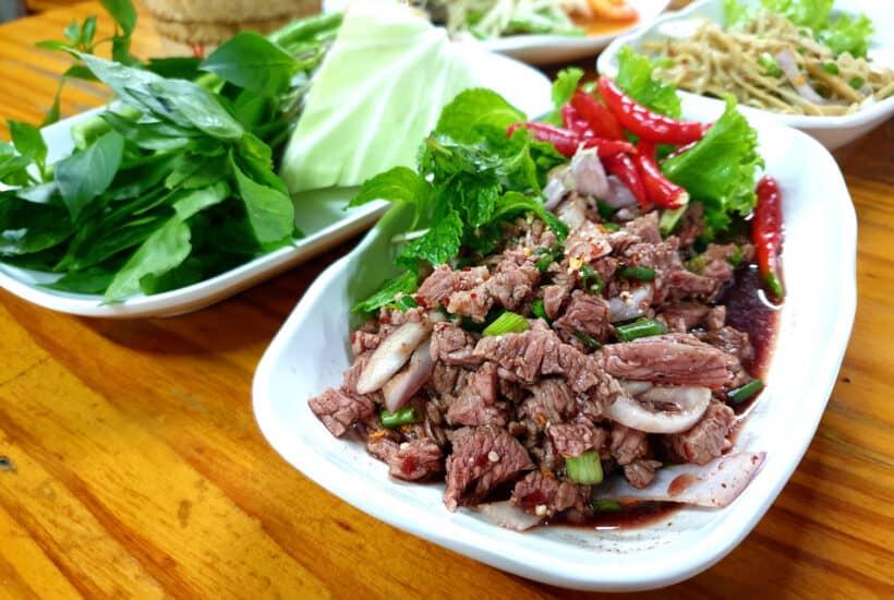 larb vs nam tok minced meat salad comparison